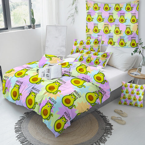Avocado Cartoon Bedding Set for Kids - Beddingify