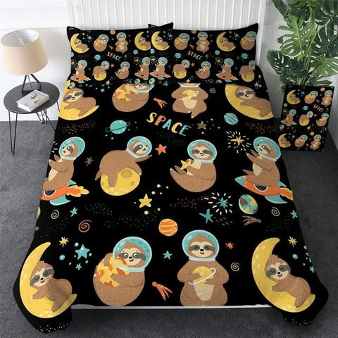Planet And Star Sloth Bedding Set