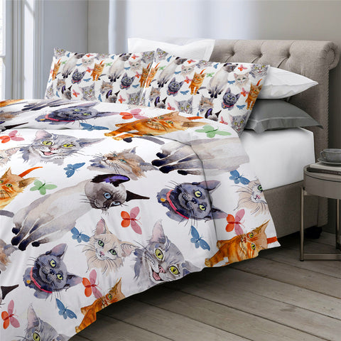 Butterfly Cat Bedding Set for Kids - Beddingify
