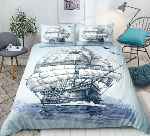 Image of Nautical Decor Sailboat Bedding Set - Beddingify