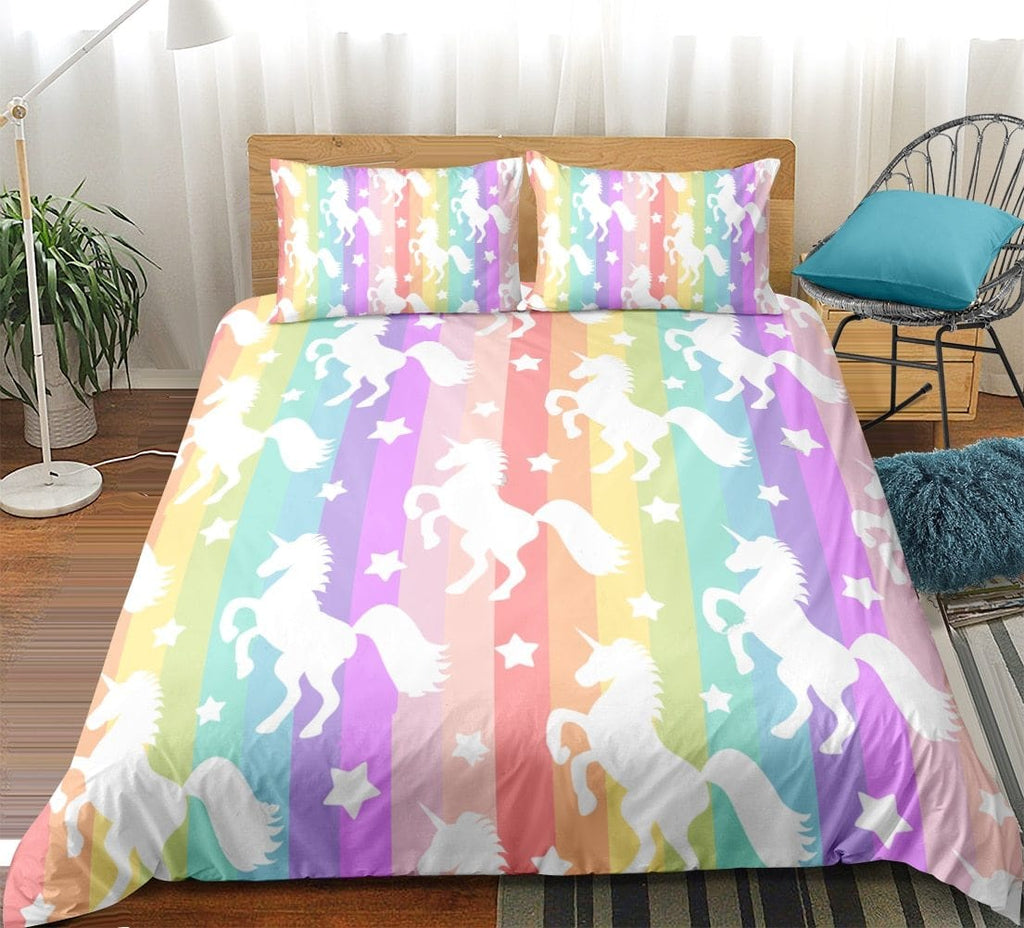 Rainbow Stripes Unicorn Bedding Sets - Beddingify