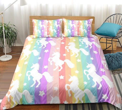 Image of Rainbow Stripes Unicorn Bedding Sets - Beddingify