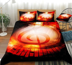 3D Red Music Notes Bedding Set - Beddingify