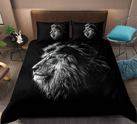 Image of Black Lion Pattern Bedding Set - Beddingify