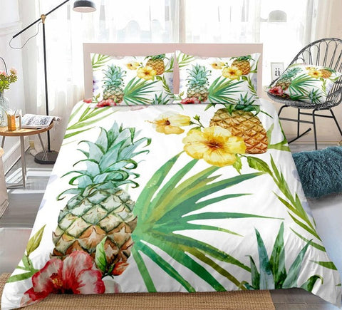 Image of Watercolor Pineapple Bedding Set - Beddingify