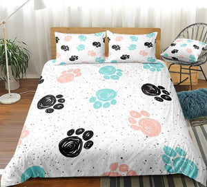 Cute Dog Drawn Paw Print Bedding Set - Beddingify