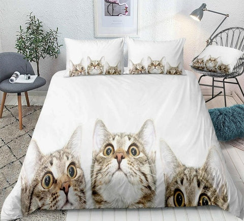 3D Cats White Background Bedding Set