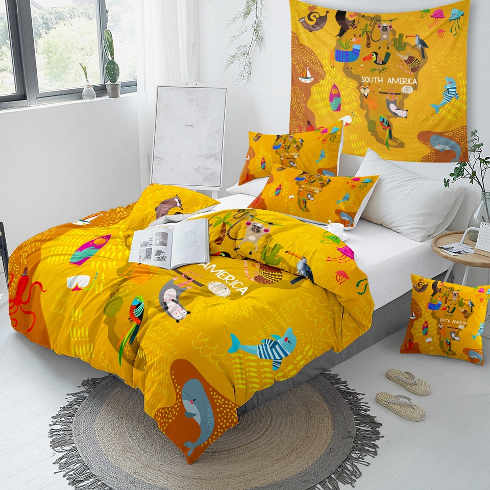 South America Map Bedding Set - Beddingify
