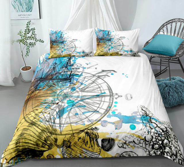 Colorful Compass Colorful Bedding Set - Beddingify