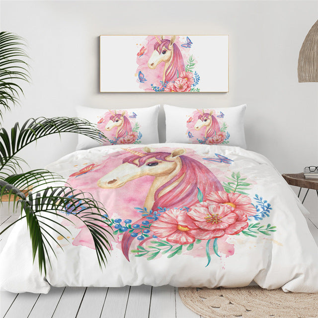 Unicorn Floral Girly Bedding Set - Beddingify