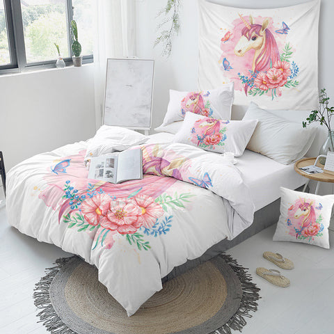 Image of Unicorn Floral Girly Bedding Set - Beddingify