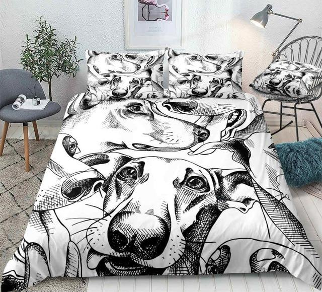 Black and White Dogs Comforter Set - Beddingify