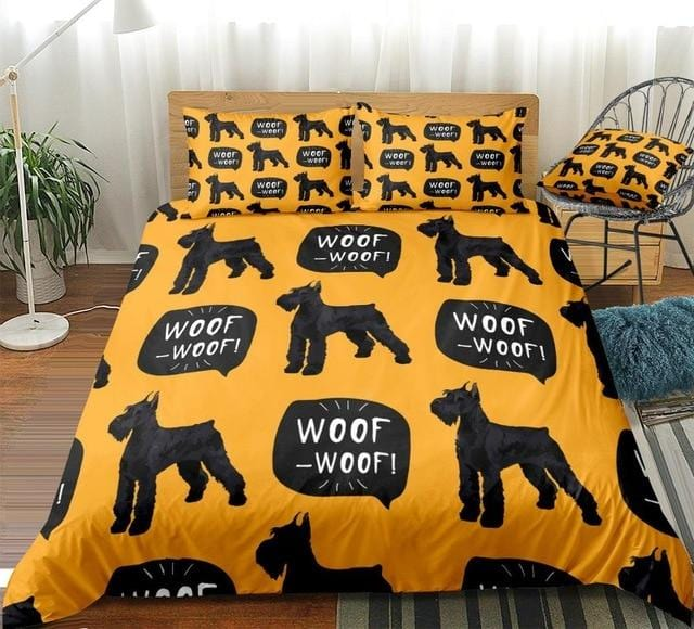 Black Schnauzer Woof Bedding Set - Beddingify