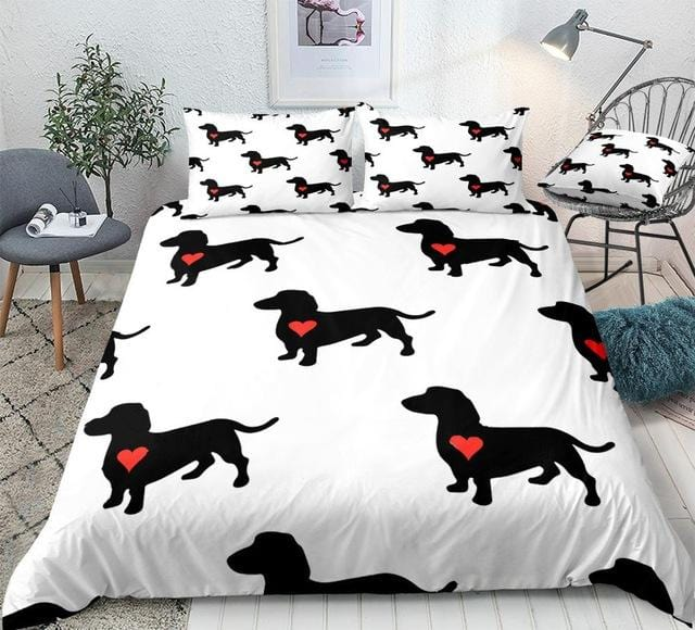 Sausage Dogs with Red Heart Bedding Set - Beddingify