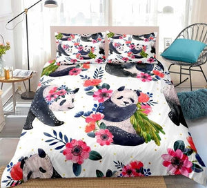 Floral Panda Bedding Set - Beddingify