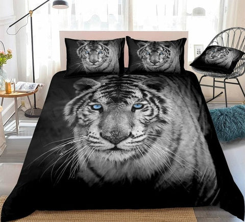 Image of 3D White Tiger Bedding Set - Beddingify