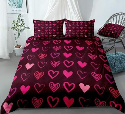 Image of Red Hearts Romantic Love Bedding Set - Beddingify