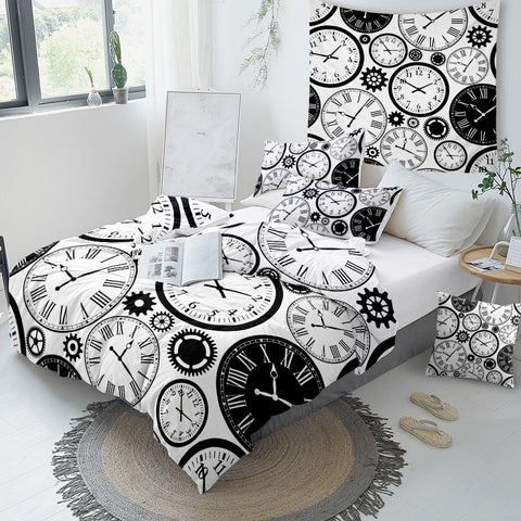 Image of Clocks Time Bedding Set - Beddingify