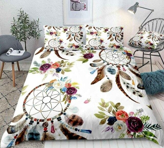 Boho Feathers DreamCatcher Bedding Set - Beddingify