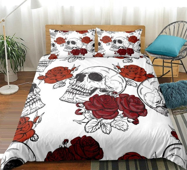 White Skull with Roses Bedding Set - Beddingify
