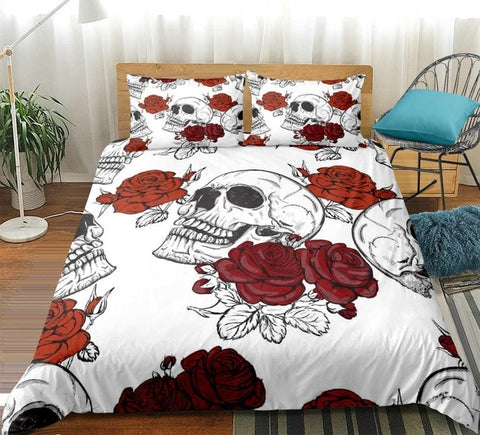 Image of White Skull with Roses Bedding Set - Beddingify