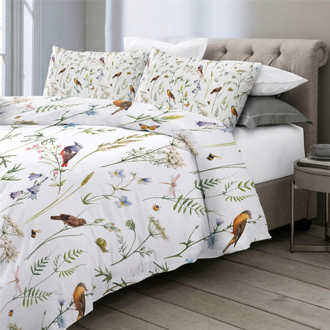 Image of Butterfly Birds Floral Bedding Set - Beddingify