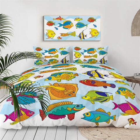 Image of Colorful Fish Bedding Set - Beddingify