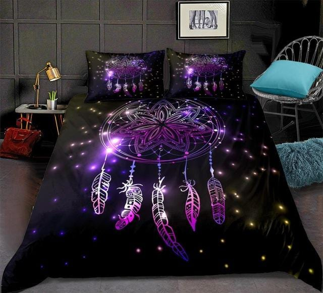 Night Sky with Flashes and Stars Dreamcatcher Bedding Set - Beddingify