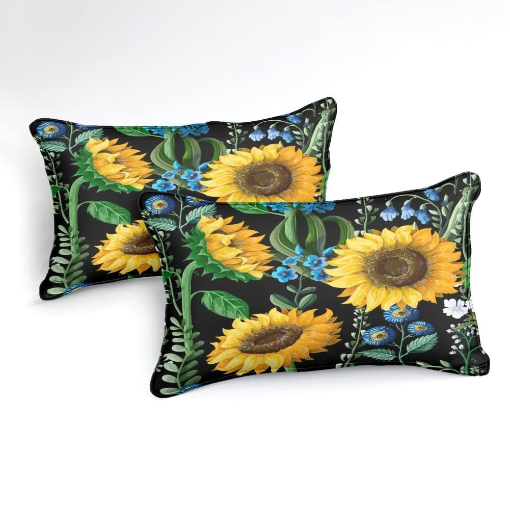 Floral Black Sunflower Bedding Set - Beddingify