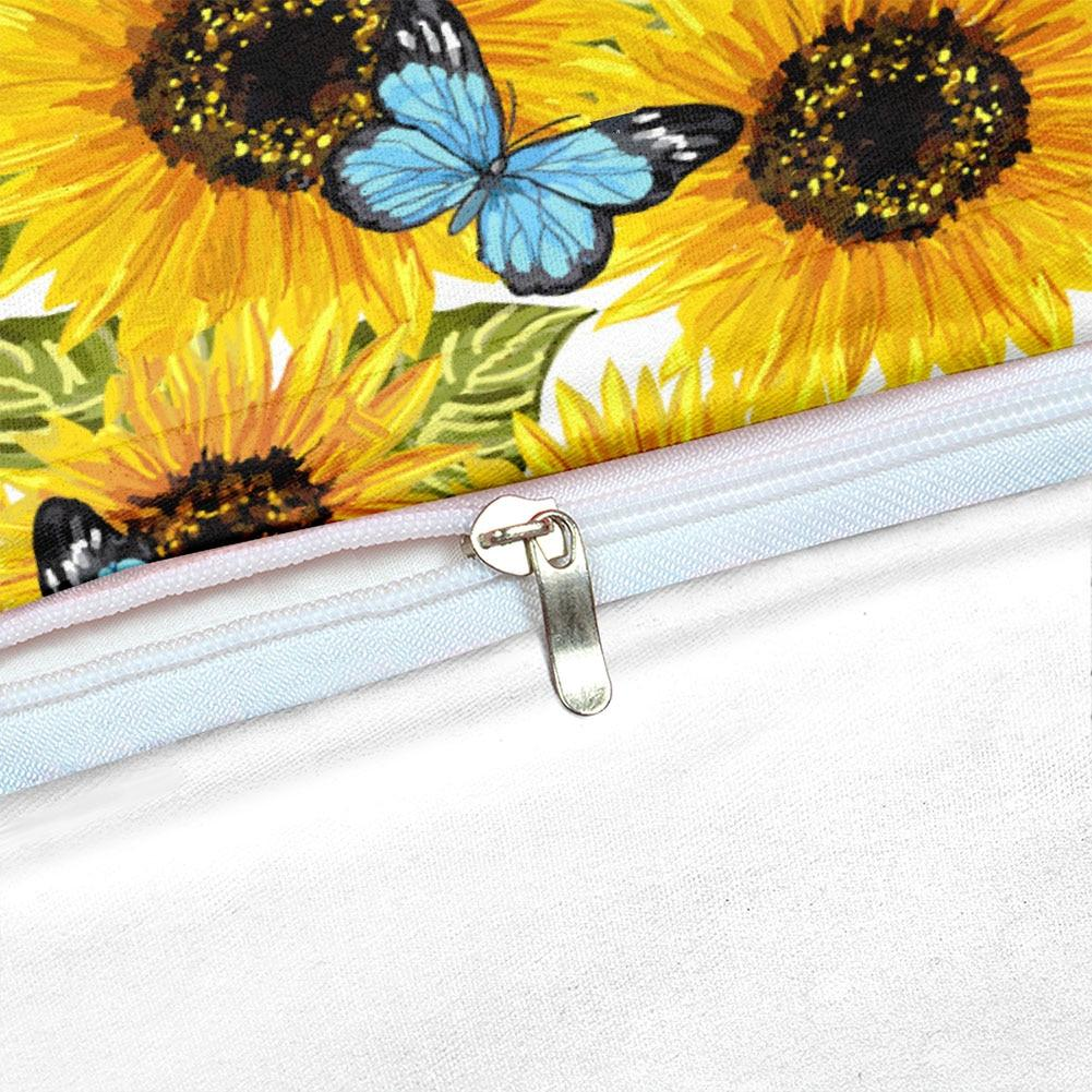 Butterflies Sunflower Bedding Set - Beddingify
