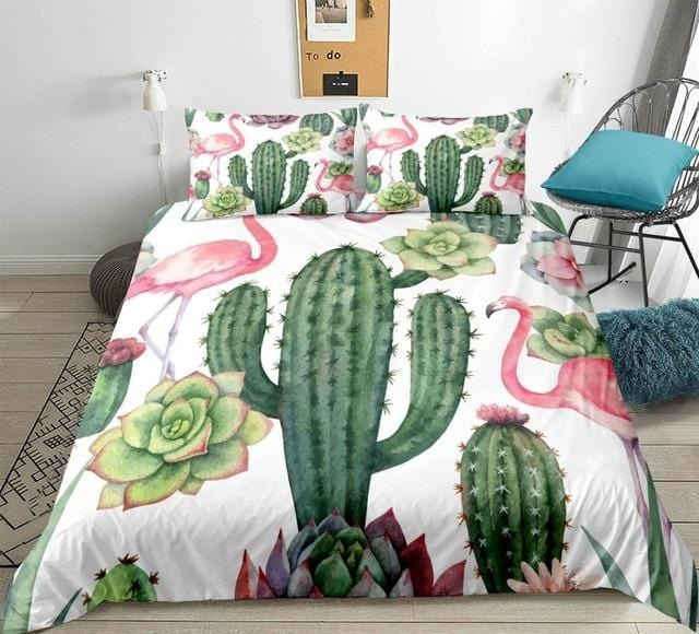 Floral Printed Flamingo Cactus Bedding Set - Beddingify