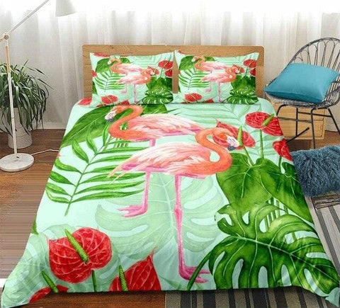Image of Flamingo Green Plants Bedding Set - Beddingify