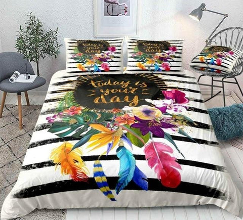 Image of Black Stripe Floral Bedding Set - Beddingify