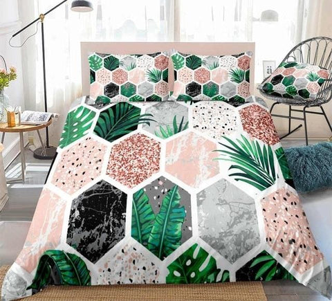 Image of Marble Tropical Leaves Pink Glitter Bedding Set - Beddingify