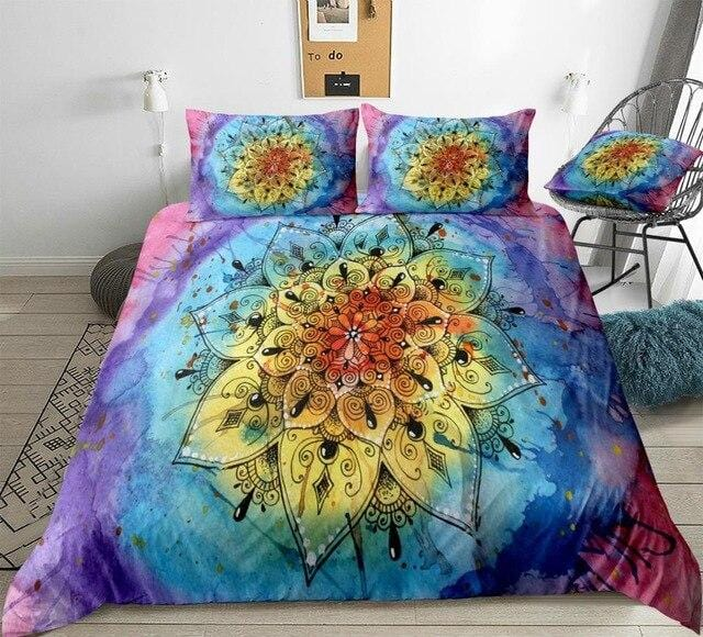 Watercolor Boho Flower Mandala Bedding Set - Beddingify