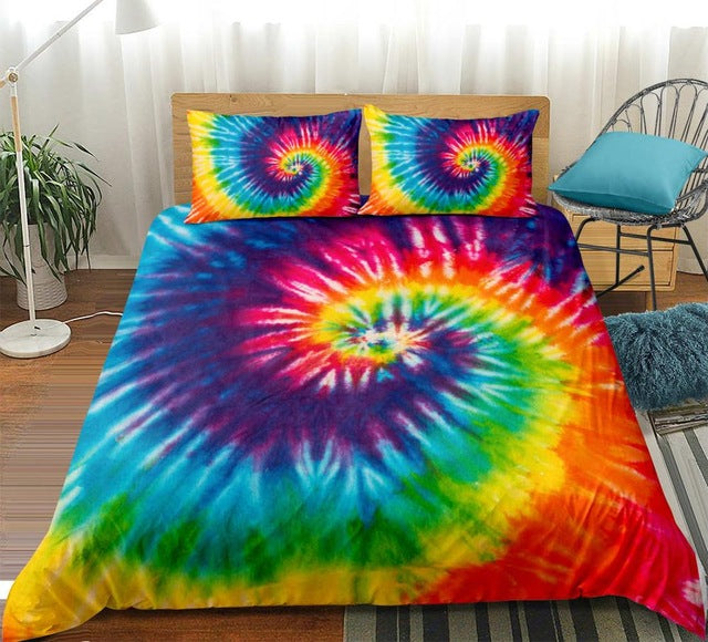 Tie-dyed Purple Blue Red Bedding Set - Beddingify