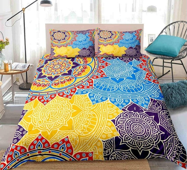 Mandala Blue Yellow Boho Flowers Bedding Set - Beddingify