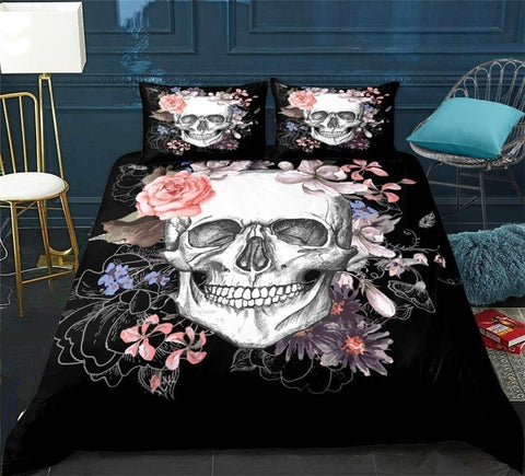 Image of Floral Skull Print Bedding Set - Beddingify