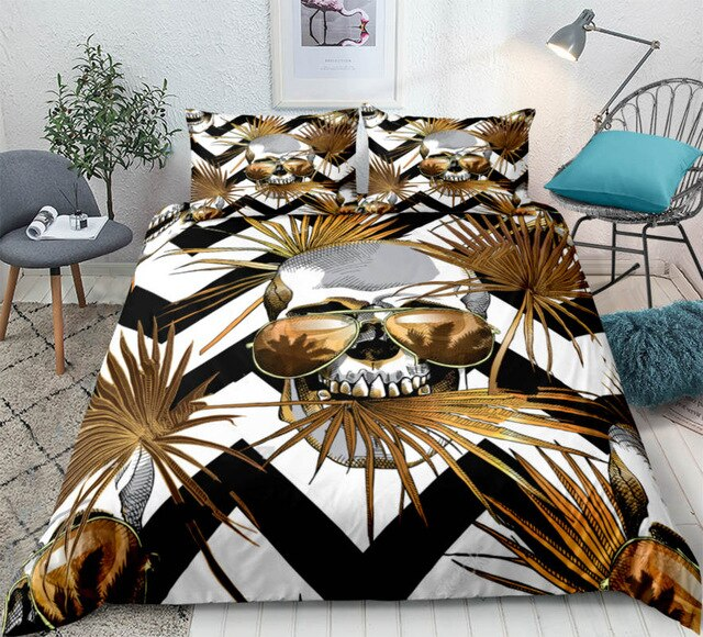 Gothic Gold Skull Bedding Set - Beddingify
