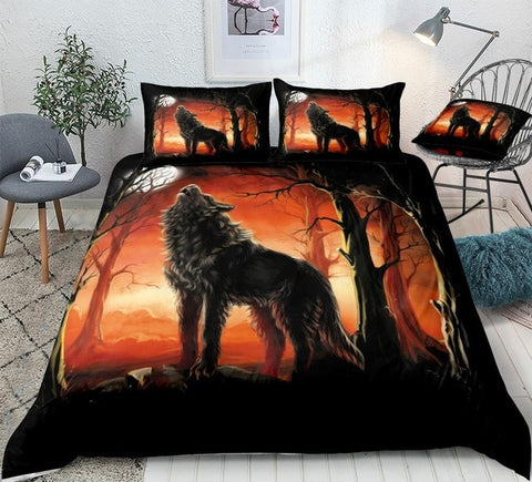 Image of Red Forest Wolf Bedding Set - Beddingify