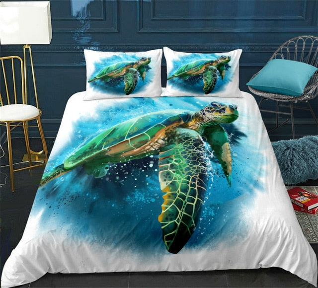 Blue Ocean Turtle Bedding Set - Beddingify