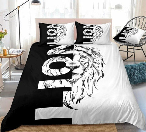 Image of Cool Lion and Letters Bedding Set - Beddingify