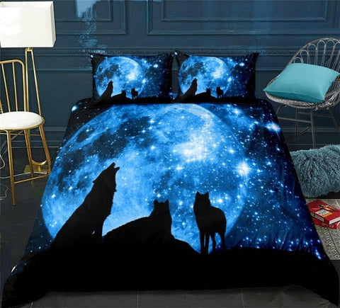 Image of Wolves under Galaxy Starry Sky Bedding Set - Beddingify