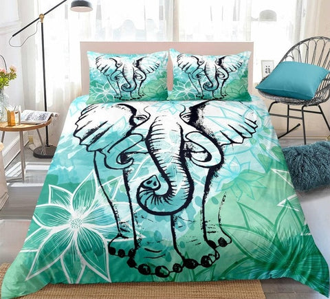 Image of Elephant Lotus Flower Bedding Set - Beddingify