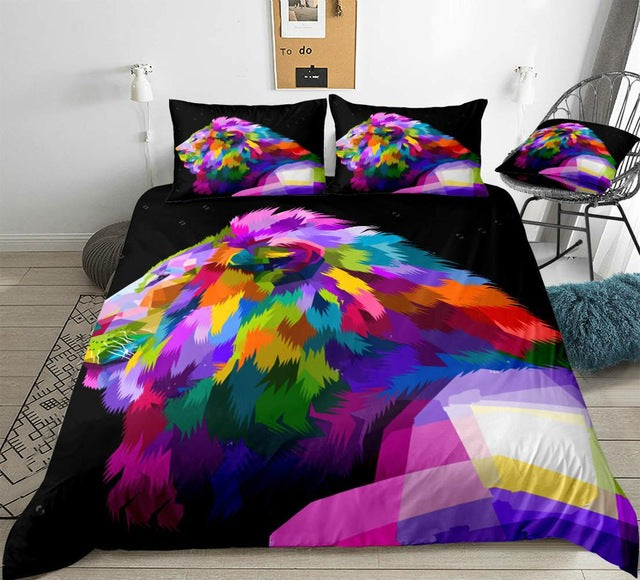 Watercolor Lion Bedding Set - Beddingify