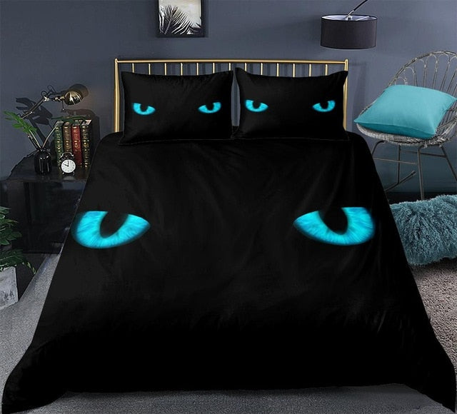 Blue Cat Eye Bedding Set - Beddingify