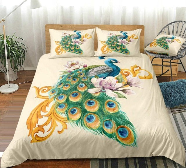 Blooming Flowers Watercolor Peacock Bedding Set - Beddingify