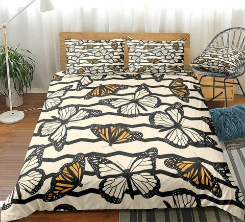 Image of White Yellow Butterfly Bedding Set - Beddingify