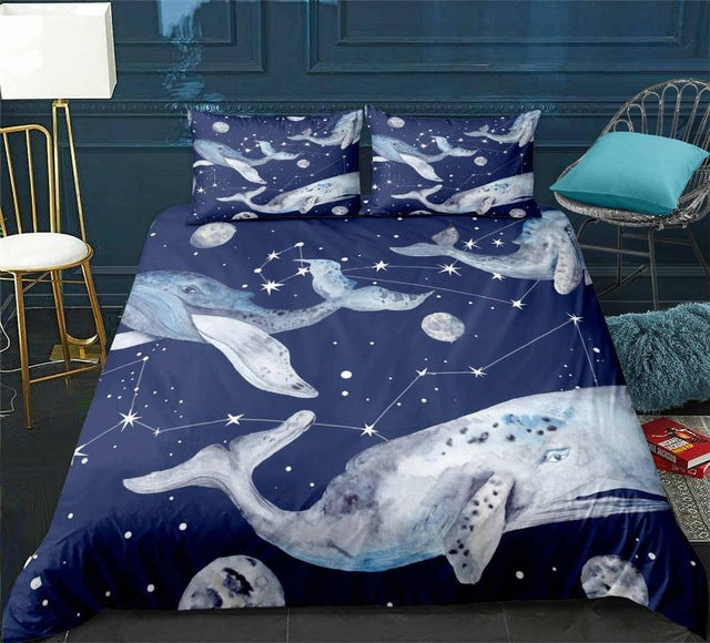Ocean Blue Whale Bedding Set - Beddingify
