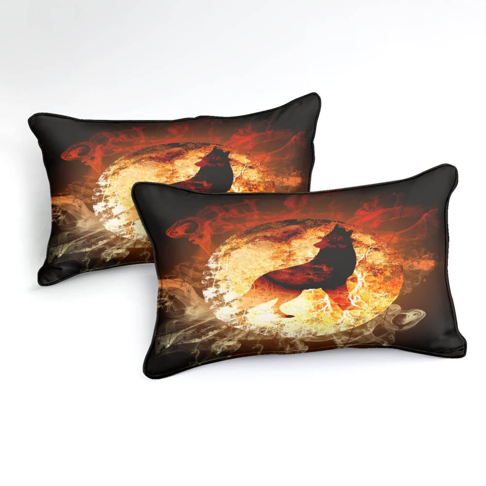 Flam-Background Howling Wolf  Bedding Set - Beddingify